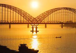 Yadanarbon bridge at sunset