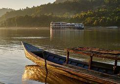 fishing boat on lake at Mandalay