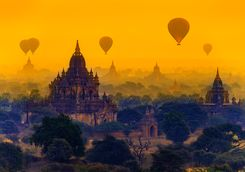 Sunrise balloons over Bagan
