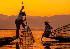 Fishing on Inle Lake at Sunset