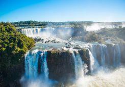 Iguazu Falls shroud in mist