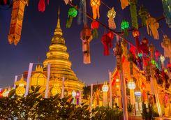 Temple Lanterns at night