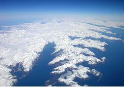 Aerial over glaciers