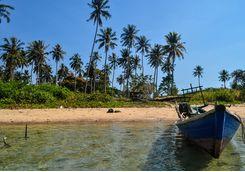 A boat ashore a beach