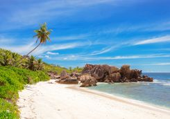 A beach on La Digue