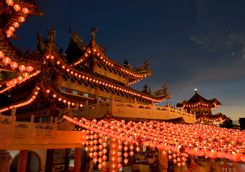 Temple lit by Lanterns