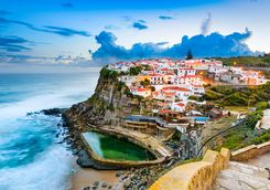 Coastline with houses on the cliff