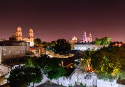 Merida cityscape at night