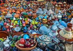 Colourful ceramics in Meknes