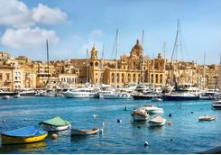 Valletta's harbour filled with boats