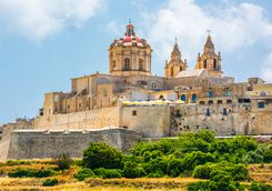 mdina's cathedral on a hill