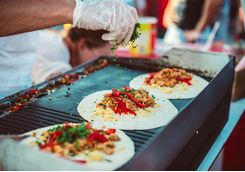 fajita making on a street food stand