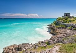 tropical beach with Tulum's ancient ruins
