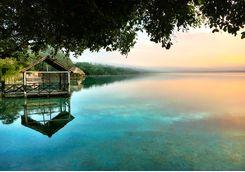 bacalar lagoon at dawn