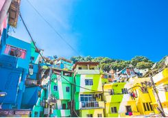Colourful favela buildings
