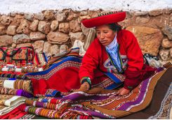 Peruvian woman selling handicrafts