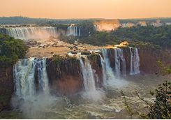 iguazu falls at sunset