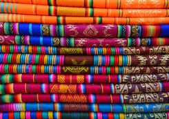Colourful textiles in Ecuador