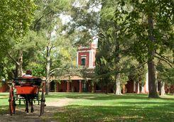 a horse carriage at estancia la bamba