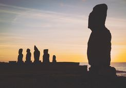 Easter Island Heads at Sunset