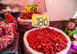 Red peppers in a market