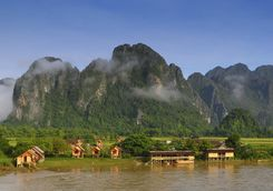 Stilted homes in Laos