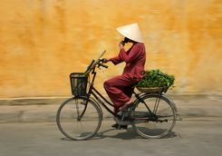 Vietnamese woman cycling