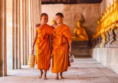 Child monks walking