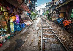 Railway through city