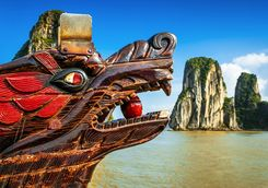 a dragon boat in halong bay