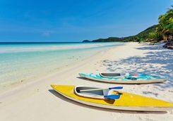 kayaks on the beach in phu quoc