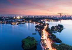 Hanoi bridge at night