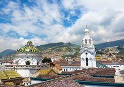 Quito church and hills