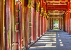 Red doors of Hue Imperial City