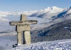 Inukshuk on a mountain top