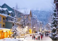Whistler village in snow