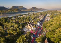 aerial view over luang probang