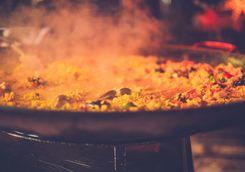 Spanish paella cooking