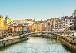 Riverbank and bridge in Bilbao