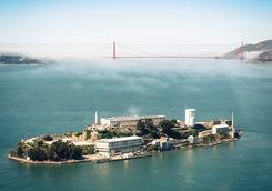 Alcatraz Island with Golden Gate Bridge