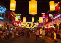 Crowded Siem Reap Pub Street, Cambodia