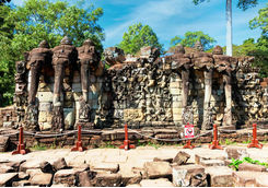 Procession of elephants on the Elephant Terrace Angkor Thom