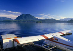 Float plane docked in Tofino