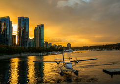 Float plane docked in Vancouver