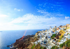 Santorini town and coast