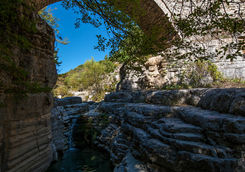 Bridge over river in the Vikos Gorge