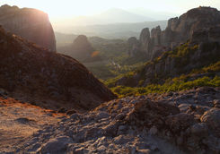 Sunset over rock formations in Meteora