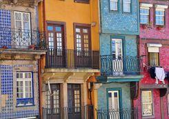 Multicoloured balconies in Porto