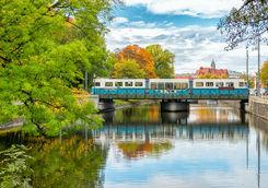 Tram on an old bridge in Gothenburg