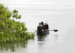 Locals fishing in Uganda